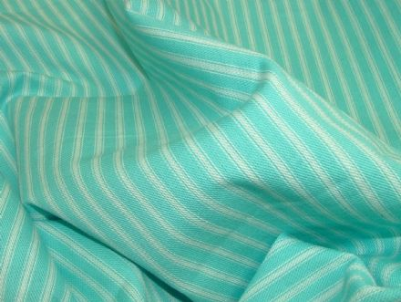 St Ives Turquoise / White 100% Cotton Woven Ticking Curtain / Upholstery Fabric